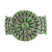 Santa Fe Style Mojave Green Turquoise Sterling Silver Cuff (7.50 in) TGW 13.750 Cts.