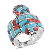 Santa Fe Style Multi Gemstone Sterling Silver Eagle Men's Band Ring (Size 10.0) TGW 8.50 cts.