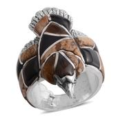 Santa Fe Style South African Tigers Eye, Multi Gemstone Sterling Silver Eagle Men's Ring (Size 13.0) TGW 4.750 cts.
