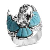 Santa Fe Style Mojave Blue Turquoise Sterling Silver Eagle Men's Ring (Size 13.0) TGW 16.500 cts.