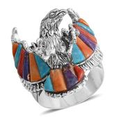 Santa Fe Style Multi Gemstone Sterling Silver Eagle Men's Ring (Size 10.0) TGW 8.281 cts.