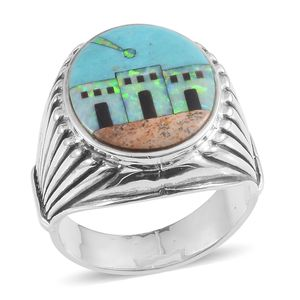 Santa Fe Style Mojave Blue Turquoise, Multi Gemstone Sterling Silver Men's Ring (Size 11.0) TGW 2.501 cts.