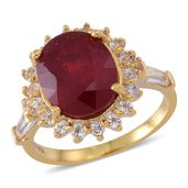 Niassa Ruby, White Topaz 14K YG Over Sterling Silver Ring (Size 7.0) TGW 7.240 cts.