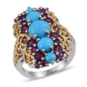 Arizona Sleeping Beauty Turquoise, Orissa Rhodolite Garnet 14K YG and Platinum Over Sterling Silver Elongated Ring (Size 7.0) TGW 6.14 cts.
