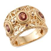 Orange Sapphire, Orissa Rhodolite Garnet 14K YG Over Sterling Silver Openwork Wide Band Ring (Size 7.0) TGW 2.204 cts.
