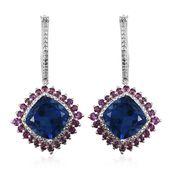 Brazilian Azul Quartz, Orissa Rhodolite Garnet, White Zircon Platinum Over Sterling Silver Hoop Dangle Earrings TGW 18.55 cts.