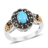 Arizona Sleeping Beauty Turquoise, Bekily Color Change Garnet 14K YG and Platinum Over Sterling Silver Ring (Size 8.0) TGW 2.320 cts.