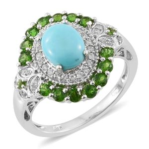 Arizona Sleeping Beauty Turquoise, Russian Diopside, White Zircon Platinum Over Sterling Silver Ring (Size 7.0) TGW 3.10 cts.