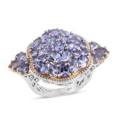 Tanzanite 14K YG and Platinum Over Sterling Silver Statement Ring (Size 6.0) TGW 5.78 cts.