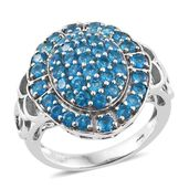 Malgache Neon Apatite Platinum Over Sterling Silver Cluster Ring (Size 6.0) TGW 3.06 cts.