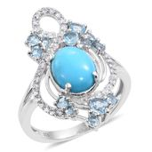 Arizona Sleeping Beauty Turquoise, Electric Blue Topaz, White Zircon Platinum Over Sterling Silver Openwork Split Ring (Size 7.0) TGW 4.01 cts.