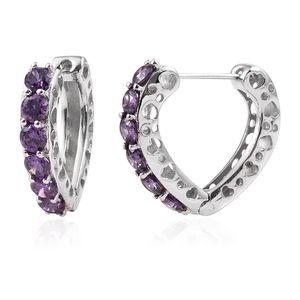 KARIS Collection - Simulated Purple Diamond Platinum Bond Brass Heart Huggie Hoop Earrings TGW 5.56 cts.