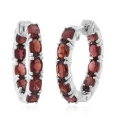 Mozambique Garnet Sterling Silver Inside Out Huggie Hoop Earrings TGW 10.080 Cts.