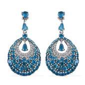 Customer Day Malgache Neon Apatite, White Zircon Platinum Over Sterling Silver Dangle Earrings TGW 7.47 cts.