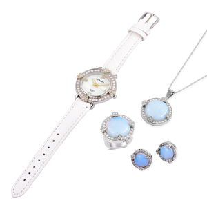 Opalite, White Austrian Crystal Stainless Steel Earrings, Ring (Size 10) and Pendant With Chain (20 in) and STRADA Japanese Movement Watch with White Band TGW 28.69 cts.