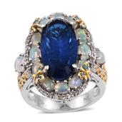 Brazilian Azul Quartz, Multi Gemstone 14K YG and Platinum Over Sterling Silver Ring (Size 7.0) TGW 11.950 cts.