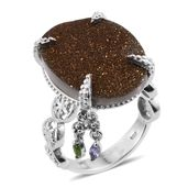 Victorian Bronze Drusy Quartz, Russian Diopside, Tanzanite Platinum Over Sterling Silver Statement Ring (Size 9.0) TGW 17.380 cts.