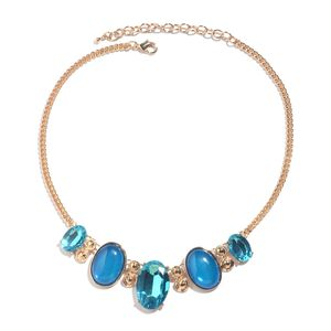 Blue Chroma, Glass Goldtone Necklace (18-20 in)