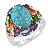 Arizona Sleeping Beauty Turquoise, Multi Gemstone 14K YG and Platinum Over Sterling Silver Carved Ring (Size 8.0) TGW 8.00 cts.