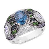 London Blue Topaz, Multi Gemstone Black Rhodium Over and Sterling Silver Ring (Size 7.0) TGW 4.710 cts.