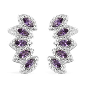 KARIS Collection - Simulated Purple Diamond Platinum Bond Brass Ear Cuff Earrings TGW 2.560 Cts.