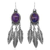 Bali Legacy Collection Mojave Purple Turquoise Sterling Silver Feather Earwire Dangle Earrings TGW 9.88 cts.