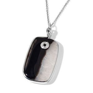 White Agate Silvertone Pendant With Stainless Steel Chain (24 in) TGW 150.00 cts.