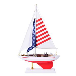 Handcrafted Red Ranger Sailboat with Stars Stripes Sail (7.5 in)