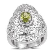 KARIS Collection - Hebei Peridot Platinum Bond Brass Ring (Size 10.0) TGW 1.150 cts.