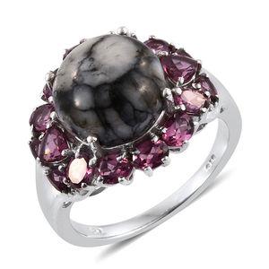 Austrian Pinolith, Orissa Rhodolite Garnet Platinum Over Sterling Silver Ring (Size 6.0) TGW 9.30 cts.