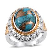 Mojave Blue Turquoise 14K YG and Platinum Over Sterling Silver Ring (Size 10.0) TGW 9.300 cts.