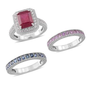 Set of 3 Niassa Ruby, Kanchanaburi Blue and Pink Sapphire, White Zircon Sterling Silver Oblong Halo and Band Triplex Passion Stack Rings (Size 9.0) TGW 7.10 cts.