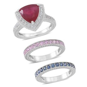 Niassa Ruby, Madagascar Blue and Pink Sapphire, White Zircon Sterling Silver Set of 3 Ring (Size 9.0) TGW 7.080 cts.