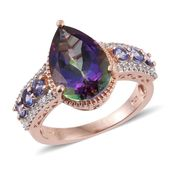 Northern Lights Mystic Topaz, Tanzanite, White Zircon 14K RG Over Sterling Silver Ring (Size 7.0) TGW 7.65 cts.