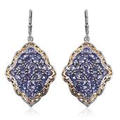 Tanzanite 14K YG and Platinum Over Sterling Silver Openwork Lever Back Earrings TGW 10.15 Cts.