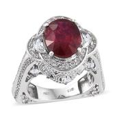 Niassa Ruby, White Topaz Platinum Over Sterling Silver Ring (Size 7.0) TGW 12.450 cts.