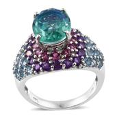 Peacock Quartz, Multi Gemstone Platinum Over Sterling Silver Cluster Ring (Size 9.0) TGW 13.16 cts.