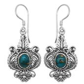 Bali Legacy Collection Mojave Blue Turquoise Sterling Silver Engraved Earrings TGW 2.200 Cts.
