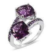 Purple Fluorite, Amethyst 14K YG and Platinum Over Sterling Silver Bypass Ring (Size 9.0) TGW 9.65 cts.