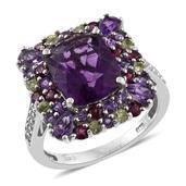 Purple Fluorite, Multi Gemstone Platinum Over Sterling Silver Ring (Size 6.0) TGW 8.89 cts.