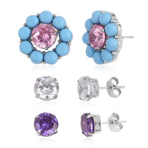 Set of 3 Multi-look Blue Howlite, Simulated Multi Color Diamond Stainless Steel Interchangeable Stud Earrings with Dangle or Stud Ear Jacket TGW 10.00 cts.