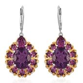 Purple Fluorite, Orissa Rhodolite Garnet 14K YG and Platinum Over Sterling Silver Lever Back Earrings TGW 13.54 cts.