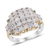 Australian White Opal, Malgache Neon Apatite 14K YG and Platinum Over Sterling Silver Cluster Ring (Size 7.0) TGW 1.800 cts.