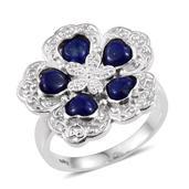 Lapis Lazuli Platinum Bond Brass Floral Ring (Size 5.0) TGW 2.75 cts.