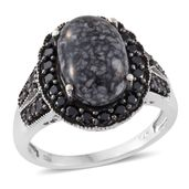 Austrian Pinolith, Thai Black Spinel Black Rhodium and Platinum Over Sterling Silver Ring (Size 6.0) TGW 8.07 cts.