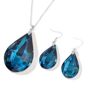 Teal Glass Stainless Steel Drop Earrings and Pendant With Chain (24 in)