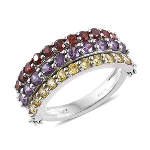 KARIS Collection - Multi Look Simulated Multi Color Diamond Platinum Bond Brass 3 Row Ring (Size 7.0) TGW 4.84 cts.
