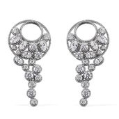 J Francis - Platinum Over Sterling Silver Fancy Earrings Made with SWAROVSKI ZIRCONIA TGW 11.79 cts.