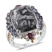 Austrian Pinolith, Multi Gemstone 14K YG and Platinum Over Sterling Silver Ring (Size 10.0) TGW 23.11 cts.
