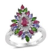 Burmese Ruby, Multi Gemstone Platinum Over Sterling Silver Split Ring (Size 7.0) TGW 2.560 cts.